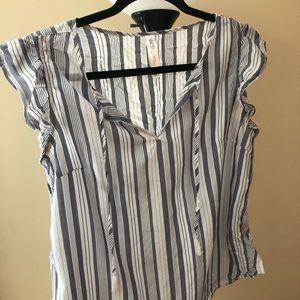 Gray and White Ruffle Short Sleeve Top